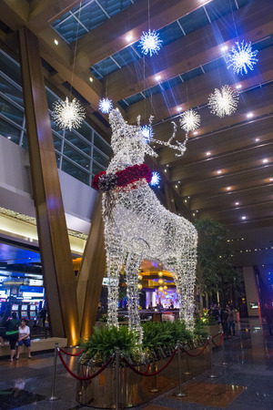 LAS VEGAS - JAN 13 : holiday light installation at Aria hotel in Las Vegas on January 13 2014. The Aria was opened on 2009 and is the worlds largest hotel to receive LEED Gold certification