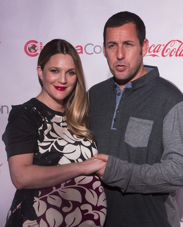 arrives: LAS VEGAS - MARCH 27:  Female and Male Star of the Year award winners, Drew Barrymore and Adam Sandler arrives at The CinemaCon Big Screen Achievement Awards at The Caesars Palace on March 27, 2014 in Las Vegas