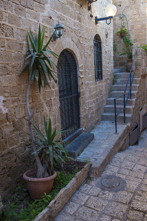 yaffo: A narrow street in historic Jaffa , Israel