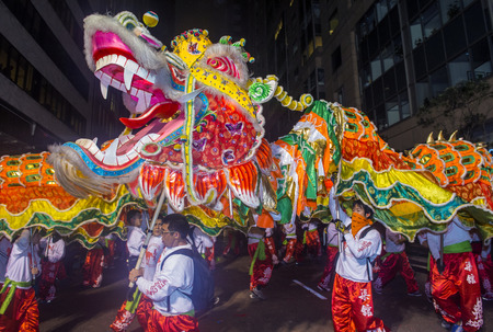 SAN FRANCISCO - FEB 15 : An unidentified participants in a Dragon dance at the Chinese New Year Parade in San Francisco , California on February 15 2014 , It is the largest Asian event in North America