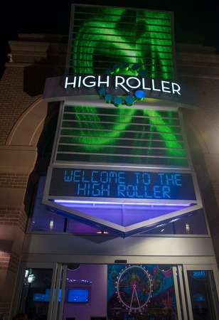 LAS VEGAS - MARCH 10 : The entrance sign to the High Roller at the center of the Las Vegas Strip on March 10 2014 , The High Roller is the worlds largest observation wheel