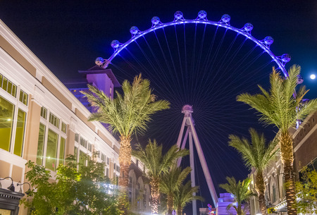observation wheel: LAS VEGAS - MARCH 15 : The Linq, a dining and shopping district and High Roller at the center of the Las Vegas Strip on March 15 2014 , The High Roller is the worlds largest observation wheel