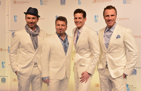 LAS VEGAS - MARCH 21: Singers of The Tenors arrive at Cirque du Soleils annual One Night for One Drop at the Mandalay Bay Resort and Casino on March 21, 2014 in Las Vegas, Nevada