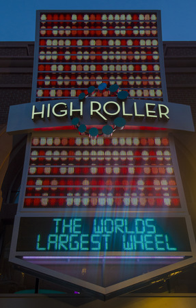 LAS VEGAS - MARCH 15 : The entrance sign to the High Roller at the center of the Las Vegas Strip on March 15 2014 , The High Roller is the worlds largest observation wheel