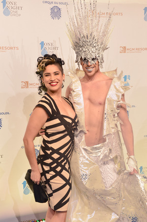 LAS VEGAS - MARCH 21:  A Cirque du Soleil performers arrives at Cirque du Soleils annual One Night for One Drop at the Mandalay Bay Resort and Casino on March 21, 2014 in Las Vegas, Nevada