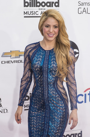 attend: LAS VEGAS - MAY 18 : Recording artist Shakira attend the 2014 Billboard Music Awards at the MGM Grand Garden Arena on May 18 , 2014 in Las Vegas.