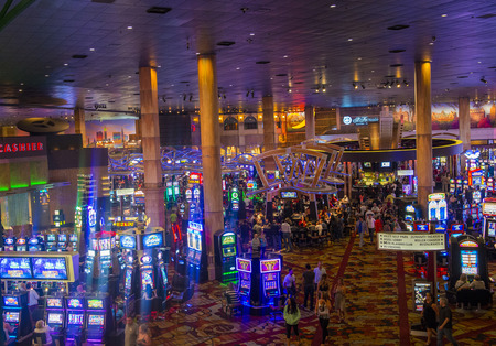manhatan: LAS VEGAS - MAY 12 : The interior of New York-New York Hotel & Casino in Las Vegas on May 12 2014; This hotel simulates the real New York City skyline and It was opened in 1997. Editorial