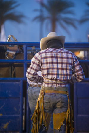 LAS VEGAS - MAY 16 : Cowboy preparing for the Helldorado days Rodeo , A professional rodeo held in Las Vegas, Nevada on May 16 , 2014