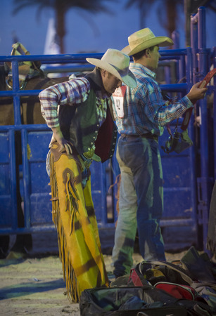 LAS VEGAS - MAY 16 : Cowboys preparing for the Helldorado days Rodeo , A professional rodeo held in Las Vegas, Nevada on May 16 , 2014  Editorial