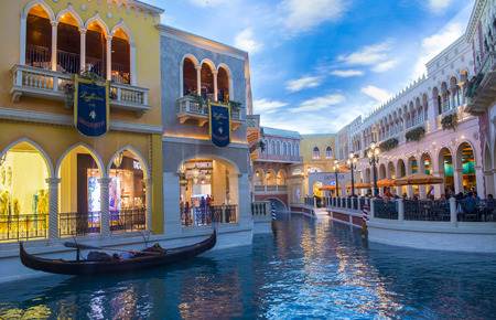 replica: LAS VEGAS - NOV 15 : The Venetian hotel and replica of a Grand canal in Las Vegas on November 15, 2013. With more than 4000 suites it`s one of the most famous hotels in the world