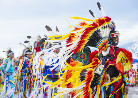LAS VEGAS - MAY 24 : Native American men takes part at the 25th Annual Paiute Tribe Pow Wow on May 24 , 2014 in Las Vegas Nevada. Pow wow is native American cultural gathernig event.