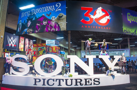 licensing: LAS VEGAS - JUNE 17 : The Sony Pictures booth at the Licensing Expo in Las Vegas , Nevada on June 17 2014.  Licensing Expo is the licensing industrys largest annual event Editorial