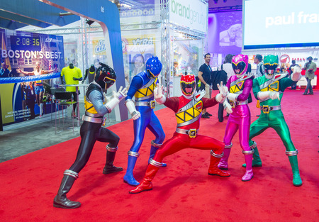 power rangers: LAS VEGAS - JUNE 17 : The Power Rangers at the Licensing Expo in Las Vegas , Nevada on June 17 2014.  Licensing Expo is the licensing industrys largest annual event Editorial