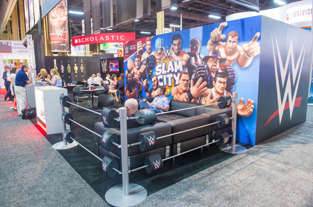 licensing: LAS VEGAS - JUNE 17 : The WWE booth at the Licensing Expo in Las Vegas , Nevada on June 17 2014.  Licensing Expo is the licensing industrys largest annual event