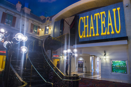 strip club: LAS VEGAS - JUNE 17 : The Chateau Night club in Paris hotel in Las Vegas on June 17 2014. The Club have more than 45,000 sq ft on two floors, including a terrace overlooking the strip.