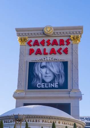 annually: LAS VEGAS - JULY 03 : The Celine Dion show poster at Ceasars palace hotel on July 03, 2014 in Las Vegas. Celine has a tree-year contract to play 70 shows annually at the Caesars Palace Colosseum Editorial