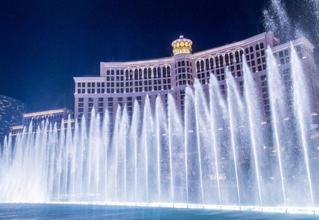 bellagio fountains: LAS VEGAS - JULY 03 : Bellagio hotel and the dancing fountains in Las Vegas on July 03 2014. Bellagio is a luxury hotel and casino located on the Las Vegas Strip. The Bellagio opened on 1998. Editorial