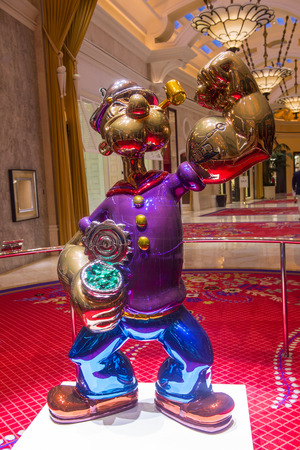 purchased: LAS VEGAS - JULY 21 : The Jeff Koons Popeye Sculpture display at the Wynn Hotel in Las Vegas on July 21 2014. The sculpture purchased by Steve Wynn in May 2014 for $28.1 million dollars