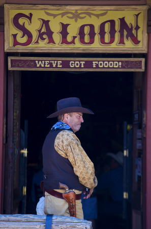 TOMBSTONE , ARIZONA - AUG 09 : A participant in the Vigilante Days event in Tombstone , Arizona on August 09 2014. Vigilantes dedicated to keeping the historical town of Tombstone alive  Editorial