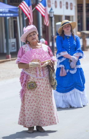 TOMBSTONE , ARIZONA - AUG 09 : A participants in the Vigilante Days event in Tombstone , Arizona on August 09 2014. Vigilantes dedicated to keeping the historical town of Tombstone alive