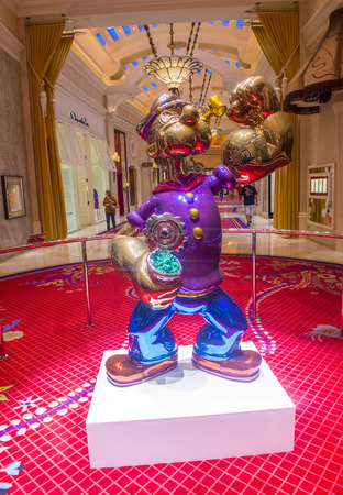 million dollars: LAS VEGAS - JULY 21 : The Jeff Koons Popeye Sculpture display at the Wynn Hotel in Las Vegas on July 21 2014. The sculpture purchased by Steve Wynn in May 2014 for $28.1 million dollars
