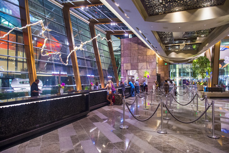 aria: LAS VEGAS - AUG 14 : The lobby of Aria Resort and Casino in Las Vegas on August 14 2014. The Aria was opened on 2009 and is the worlds largest hotel to receive LEED Gold certification