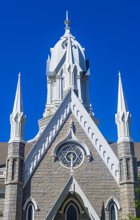 assembly hall: SALT LAKE CITY , UTAH - AUG 31 : The Salt Lake City Assembly Hall on August 31 2014. The Assembly Hall is a Victorian Gothic congregation hall located in Temple Square in Salt Lake City, Utah