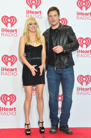 chris: LAS VEGAS - SEP 20 : Actors Anna Faris (L) and Chris Pratt attends the 2014 iHeartRadio Music Festival at the MGM Grand Garden Arena on September 19, 2014 in Las Vegas.