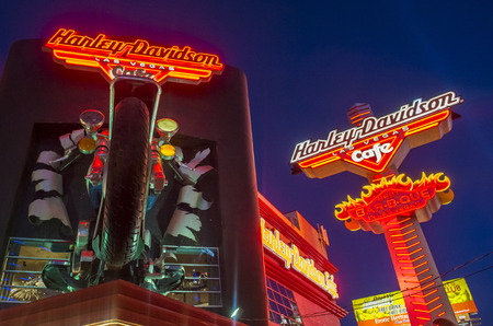 LAS VEGAS - SEP 18: The Harley Davidson Cafe in Las Vegas strip on September 18 2014. In the facade there is a 7.1:1 scale replica Sportster weighing 1,200 lbs and measuring 32 feet.