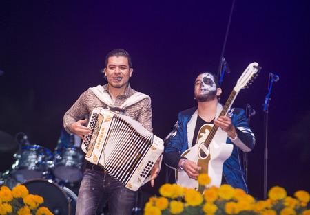 COACHELLA , CALIFORNIA - NOV 01 : Singer Noel Torres perform live on stage at the Dia De Los Muertos celebration in Coachella , California on November 01 2014 Editorial