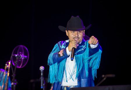 COACHELLA , CALIFORNIA - NOV 01 : Member of the band Banda Machos perform live on stage at the Dia De Los Muertos celebration in Coachella , California on November 01 2014