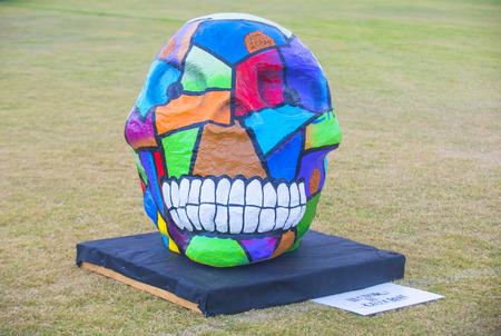 dia de los muertos: COACHELLA , CALIFORNIA - NOV 01 : Traditional Mexican Painted Skull at the Dia De Los Muertos Experience in Coachella , California on November 01 2014