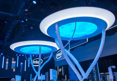 intel: LAS VEGAS - JAN 09 : The Intel booth at the CES show held in Las Vegas on January 09 2015 , CES is the worlds leading consumer-electronics show.