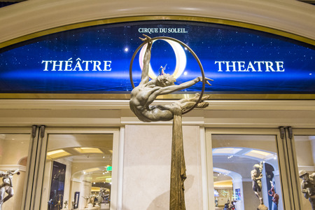 soleil: LAS VEGAS - FEB 04 : O theatre at the Bellagio hotel in Las Vegas on February 04 2015. O is a Cirque du Soleil stage production written and directed by Franco Dragone.
