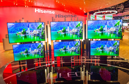 ultra modern: LAS VEGAS - JAN 09 : The Hisense booth at the CES show held in Las Vegas on January 09 2015 , CES is the worlds leading consumer-electronics show. Editorial