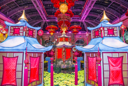 each year: LAS VEGAS - JAN 19 : Chinese New year in Bellagio Hotel Conservatory & Botanical Gardens on January 19, 2015 in Las Vegas. There are five seasonal themes that the Conservatory undergoes each year.