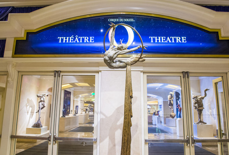 cirque du soleil: LAS VEGAS - FEB 04 : O theatre at the Bellagio hotel in Las Vegas on February 04 2015. O is a Cirque du Soleil stage production written and directed by Franco Dragone.