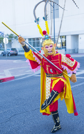 playing folk: LAS VEGAS - FEB 21 : man dress as monkey king participates at the Chinese New Year parade held in Las Vegas , Nevada on February 21 2015 Editorial