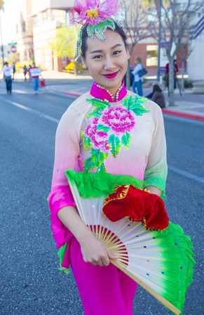 playing folk: LAS VEGAS - FEB 21 : Participant at the Chinese New Year parade held in Las Vegas , Nevada on February 21 2015