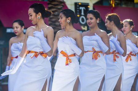 tahitian: LAS VEGAS - FEB 21 : Tahitian folk dancer perform at the Chinese New Year celebrations held in Las Vegas , Nevada on February 21 2015