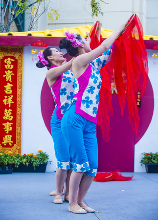 show folk: LAS VEGAS - FEB 21 : Chinese folk dancers perform at the Chinese New Year celebrations held in Las Vegas , Nevada on February 21 2015 Editorial