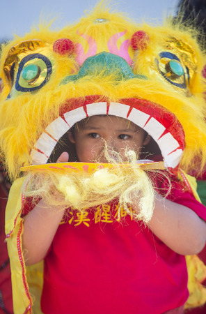 show folk: LAS VEGAS - FEB 21 : A young participant at the Chinese New Year parade held in Las Vegas , Nevada on February 21 2015