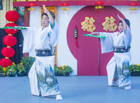 show folk: LAS VEGAS - FEB 21 : Japanese folk dancers perform at the Chinese New Year celebrations held in Las Vegas , Nevada on February 21 2015 Editorial