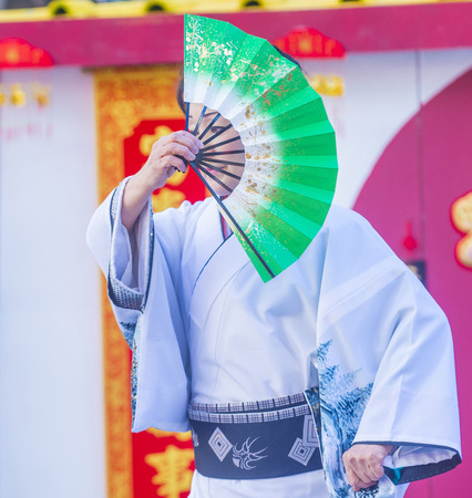 playing folk: LAS VEGAS - FEB 21 : Japanese folk dancer perform at the Chinese New Year celebrations held in Las Vegas , Nevada on February 21 2015 Editorial