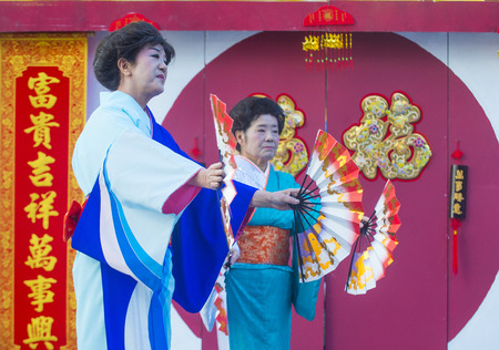 playing folk: LAS VEGAS - FEB 21 : Japanese folk dancers perform at the Chinese New Year celebrations held in Las Vegas , Nevada on February 21 2015 Editorial