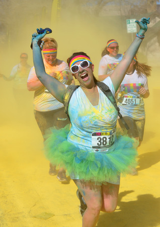 hosted: LAS VEGAS - FEB 28 : An unidentified runners at the Las Vegas Color Run on February 28 2015. The Color Run is a 5k worldwide hosted fun race Editorial