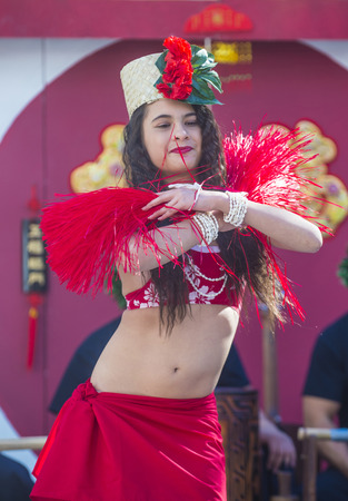 folk heritage: LAS VEGAS - FEB 21 : Tahitian folk dancer perform at the Chinese New Year celebrations held in Las Vegas , Nevada on February 21 2015