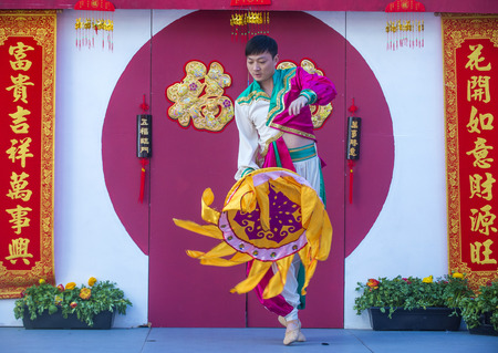 playing folk: LAS VEGAS - FEB 21 : Chinese folk dancer perform at the Chinese New Year celebrations held in Las Vegas , Nevada on February 21 2015