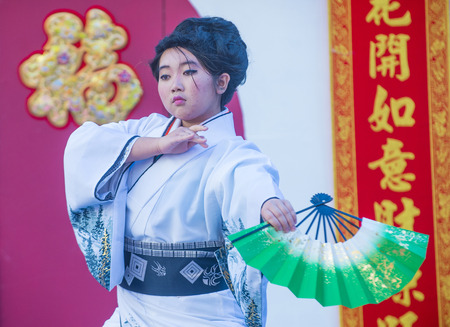 folk heritage: LAS VEGAS - FEB 21 : Japanese folk dancer perform at the Chinese New Year celebrations held in Las Vegas , Nevada on February 21 2015 Editorial