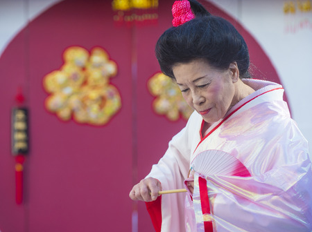 show folk: LAS VEGAS - FEB 21 : Japanese folk dancer perform at the Chinese New Year celebrations held in Las Vegas , Nevada on February 21 2015 Editorial
